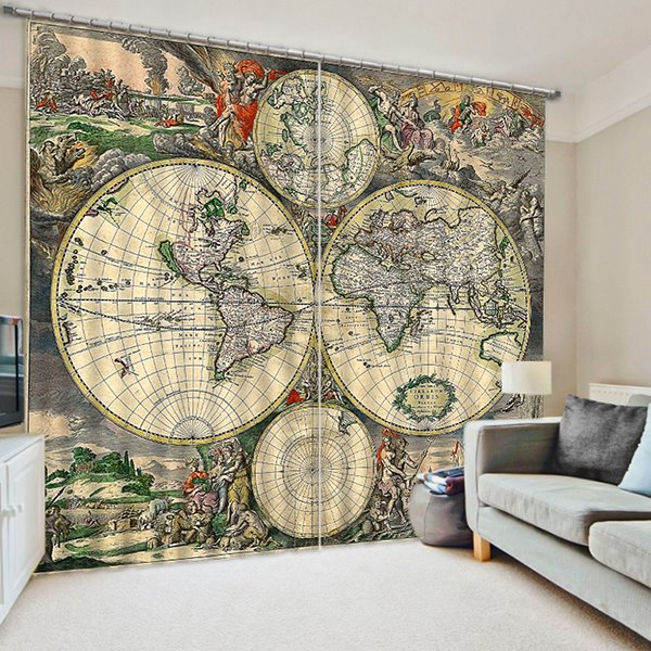 Antique World Map Print 3D Blackout Curtain