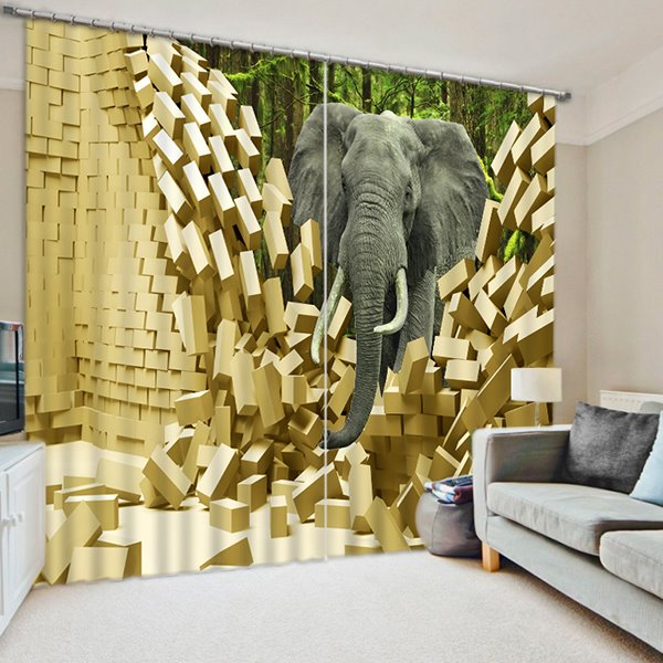 An Elephant Walking Breaking the Wall Print 3D Blackout Curtain