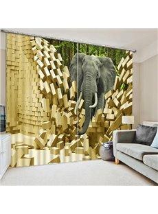 An Elephant Walking Breaking the Wall Print 3D Blackout Curtain