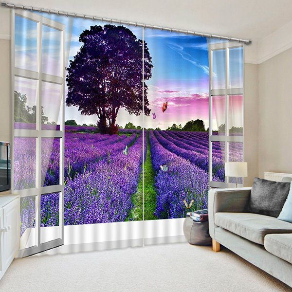 Purple Tree and Grasses out of the Window Print 3D Blackout Curtain