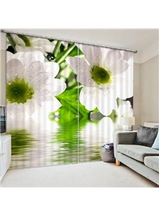 Lovely White Pear Flowers Print 3D Blackout Curtain