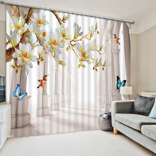 Colorful Butterflies and Blooming Flowers Print 3D Blackout Curtain