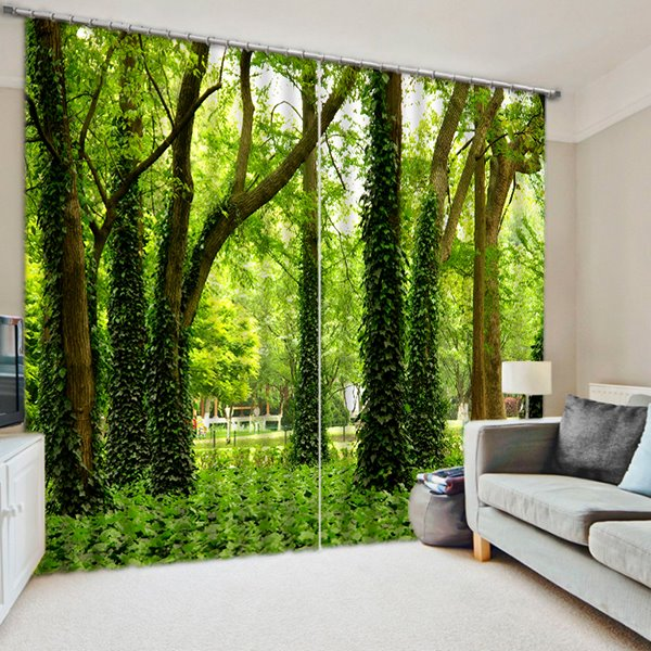 Green Trees and Grasses Print 3D Blackout Curtain