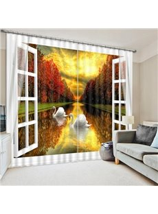 Couple Swans Swimming on the Calm Lake Print 3D Blackout Curtain
