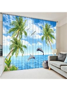 Dolphins Jumping out of the Water Printing 3D Curtain