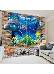 Adorable Dolphin Swimming Printing 3D Curtain