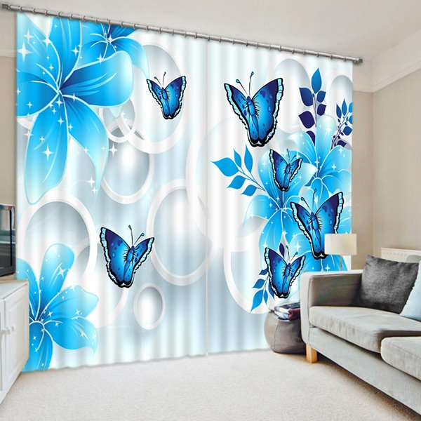 Blue Flowers and Butterflies Print 3D Blackout Curtain