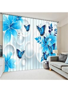 Blue Flowers and Butterflies Print 3D Blackout Curtain