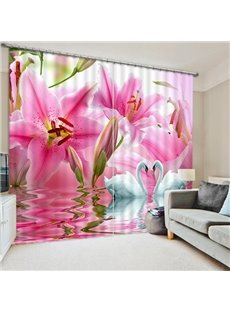 Couple White Swans with Love in front of the Pink Lily Flowers Print 3D Blackout Curtain