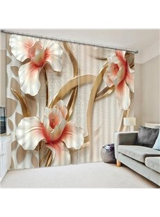 Three Relief Flowers Print 3D Blackout Curtain
