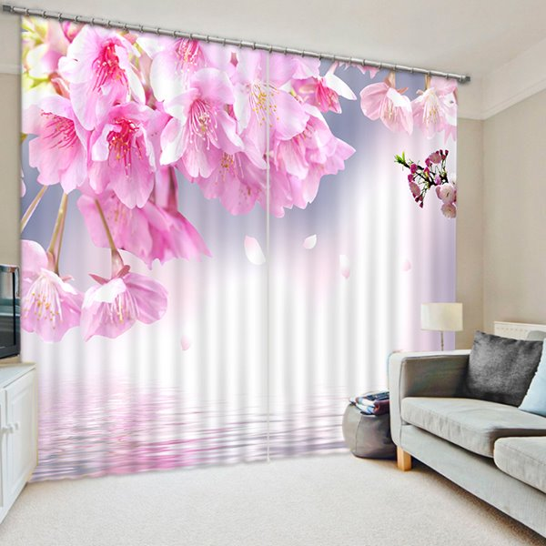 Tender and Lovely Pink Peach Blossoms Print 3D Blackout Curtain