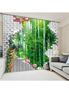 Couple Peacocks Standing in front of the Bamboo Forest Print 3D Blackout Curtain