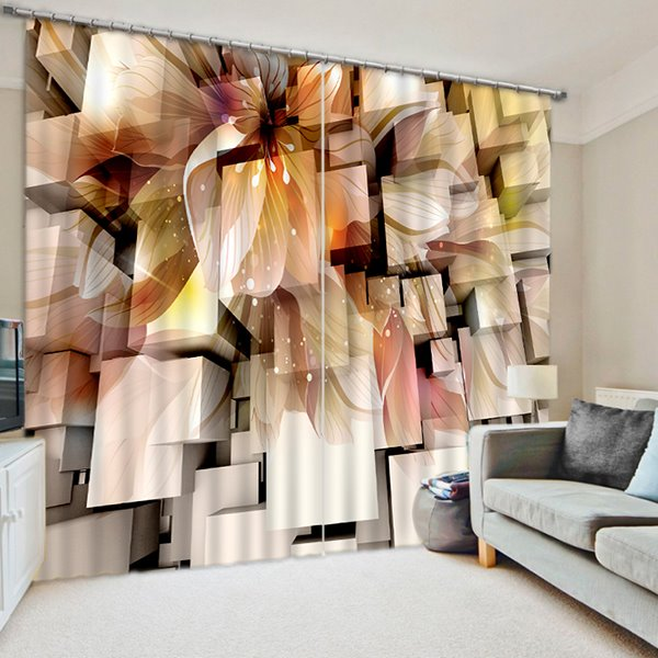 Three-Dimensional Squares and Flower Print 3D Blackout Curtain
