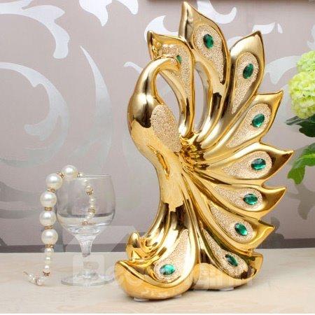 Wonderful Golden Color Peacock Desktop Decoration