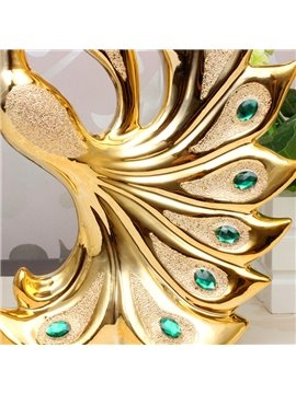 Wonderful Golden Color Peacock Desktop Decoration