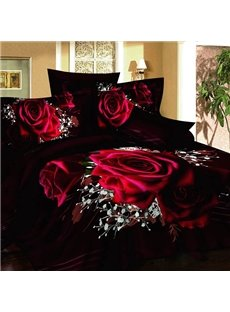 Noble Rose and White Flower Print Cotton 2-Piece Pillow Cases