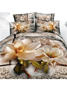 Bright Magnolia with Paisley Flower Print Cotton 2-Piece Pillow Cases