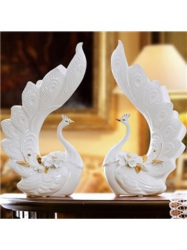 Beautiful White Couple Peacock Desktop Decoration