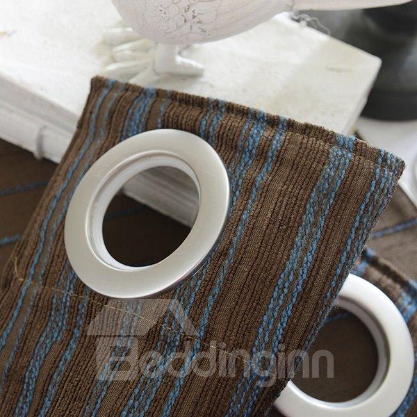 Blue Streak Chenille Jacquard Grommet Curtain Panel