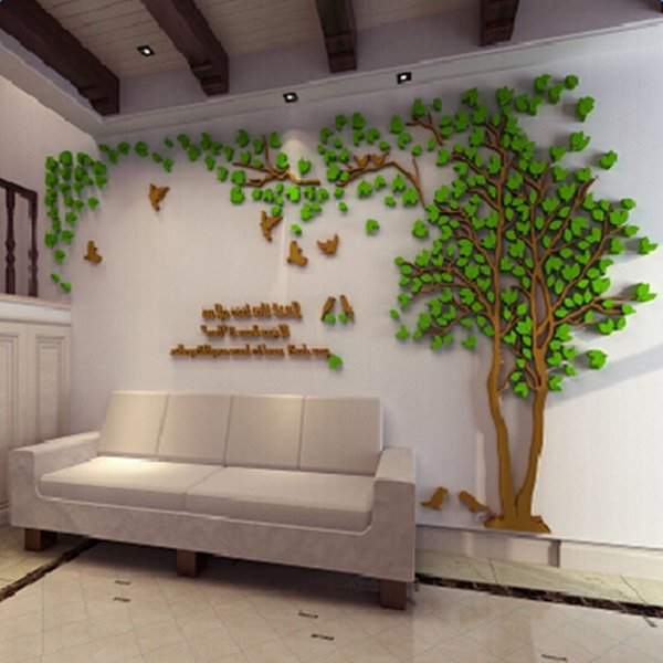 Beautiful Acrylic Countryside Style Tree and Birds 3D Wall Stickers