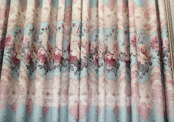 The Peony Pattern Cotton and Linen Jacquard Grommet Curtain Panel