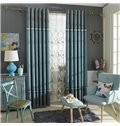 Chenille Jacquard Color Block Grommet Blackout Curtain Panel