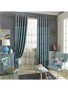 Chenille Jacquard Color Block Grommet Top Blackout Curtain Panel