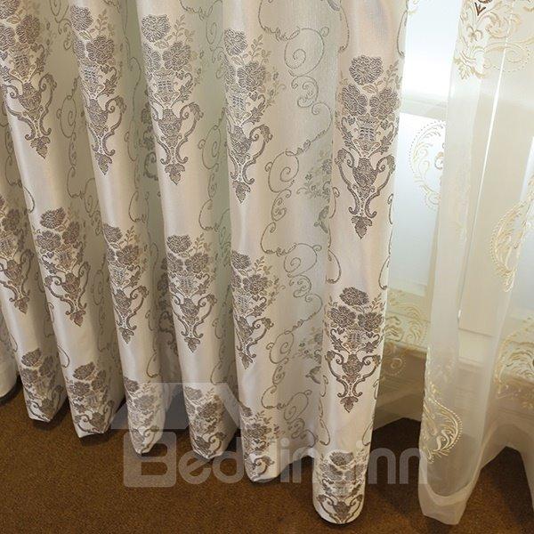 Luxury Emulation Silk Jacquard Grommet Curtain Panel