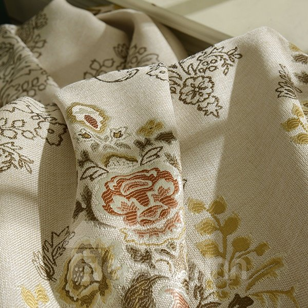 European Style Jacquard Grommet Blackout Curtain Panel