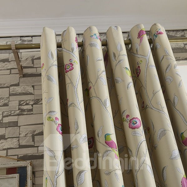 Lovely Birdie Printing Grommet Blackout Curtain Panel