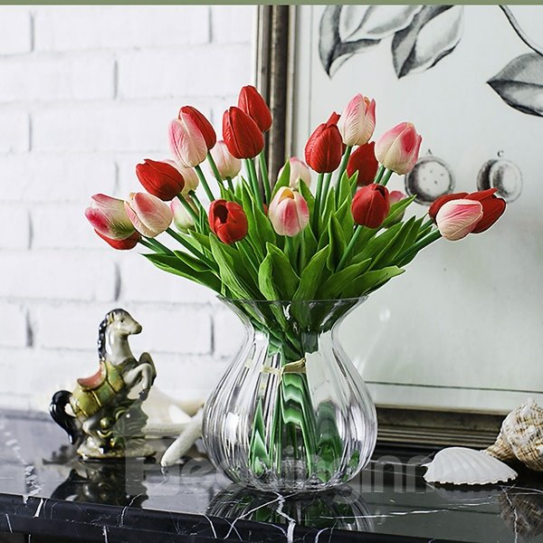 White Beautiful Tulip Home Decorative Artificial Flowers