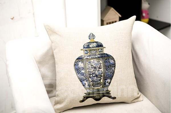 High Class Ethnic Vase Print Flax Throw Pillow