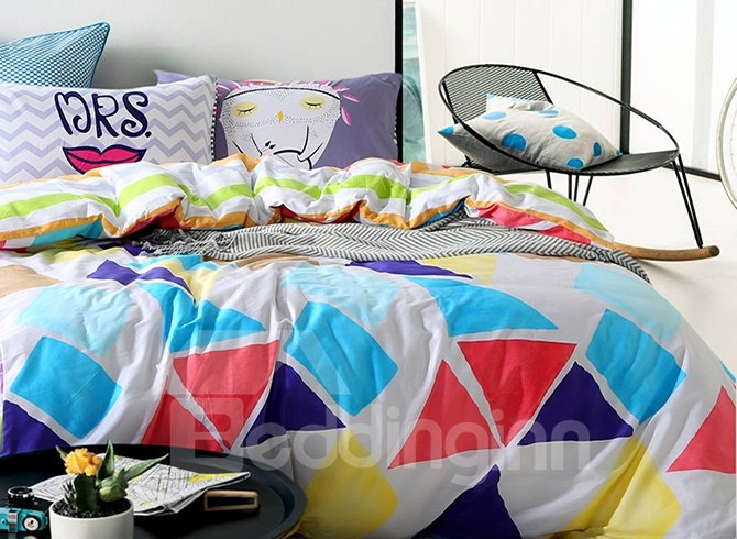 New Colorful Triangle Printing 4-Piece Cotton Duvet Cover Sets