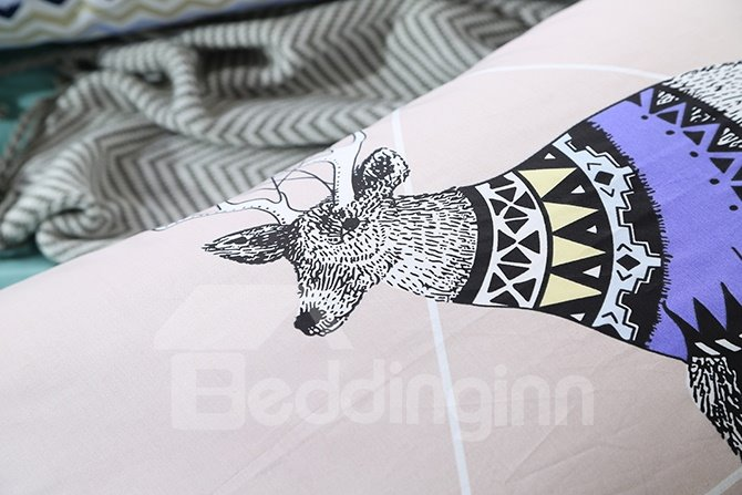 New Arrival Reindeer Print Blue 4-Piece Cotton Duvet Cover Sets