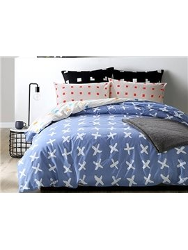 High Quality Simple Pattern Blue 4-Piece Cotton Duvet Cover