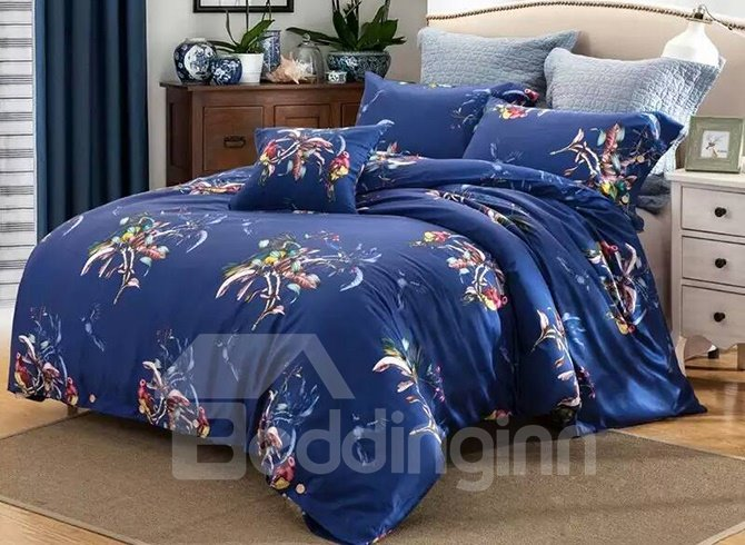 Charming Flower Print Blue 4-Piece Cotton Duvet Cover Sets
