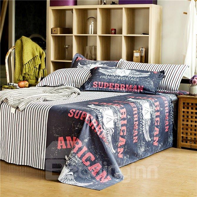 Super Cool Wing Pattern Black 4-Piece Cotton Duvet Cover Sets