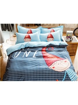 Young Fashion Style Plaid Blue 4-Piece Cotton Duvet Cover Sets