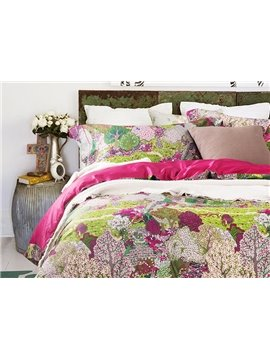 New Arrival Beautiful Forest Printing 4-Piece Cotton Duvet Cover Sets