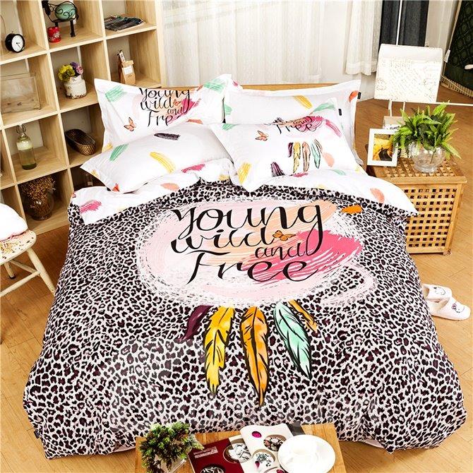 Fabulous Personality Letters Leopard Print 4-Piece Cotton Duvet Cover Sets