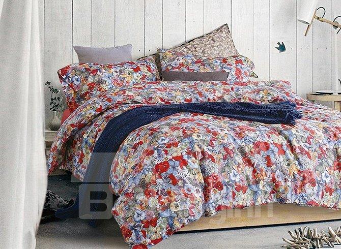 Romantic French Floral Printing 4-Piece Cotton Duvet Cover Sets