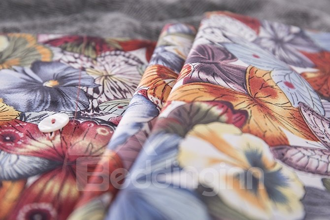 Romantic French Floral Printing 4-Piece Cotton Duvet Cover Sets