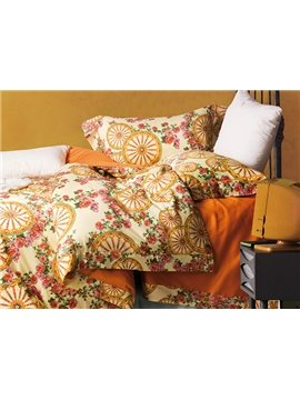 Pastoral Style Unique Floral Printing 4-Piece Cotton Duvet Cover Sets