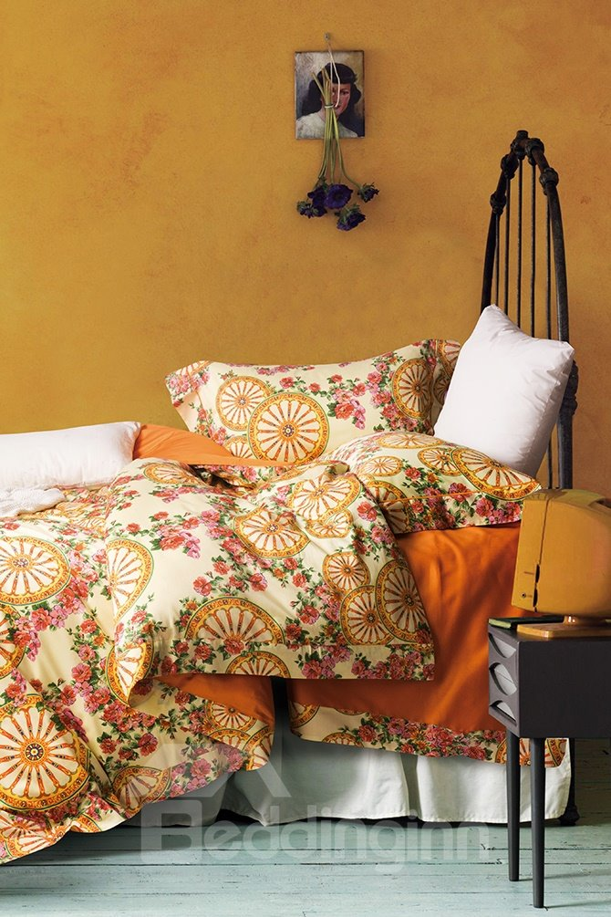 Pastoral Style Unique Floral Printing 4-Piece Cotton Duvet Cover Sets