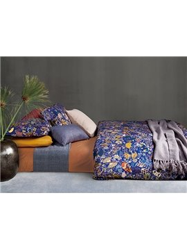 Luxury Flourishing Floral Pattern Blue 4-Piece Cotton Duvet Cover Sets