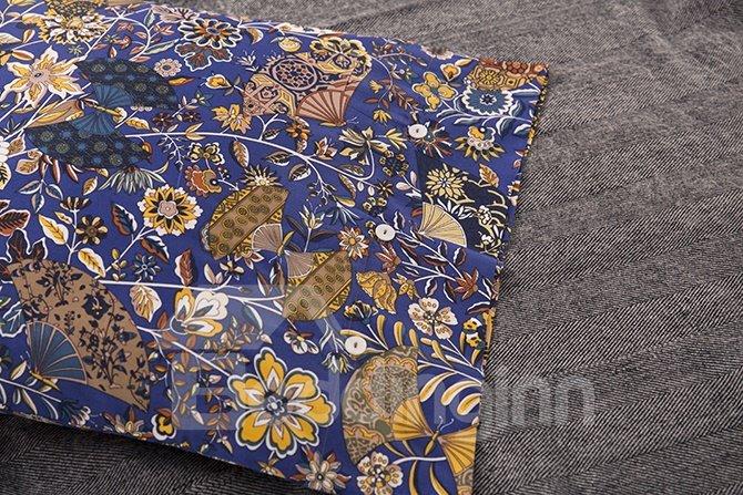 Luxury Flourishing Floral Pattern Blue 4-Piece Cotton Duvet Cover Sets