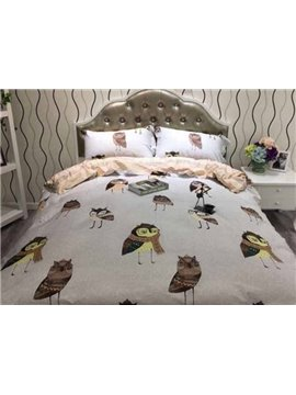 High-grade Comfy Cartoon Owl Reactive Printing 4-Piece Cotton Duvet Cover