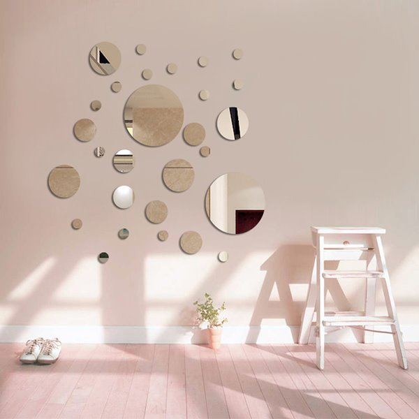 New Cute Roundness Pattern Plastic Silver Polka Dot Mirror Wall Stickers