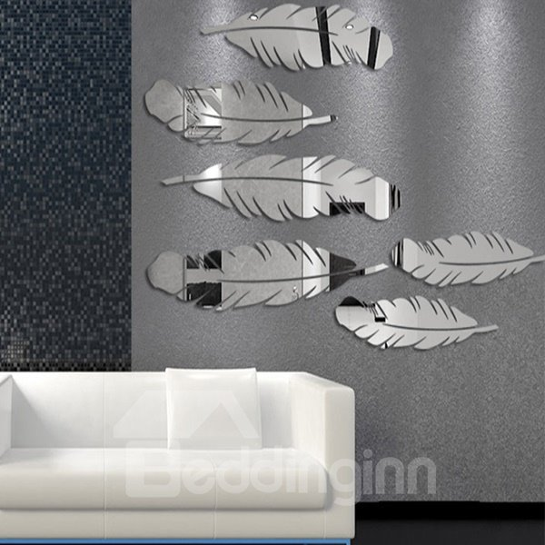 Cute Feather Pattern Plastic Mirror Wall Stickers