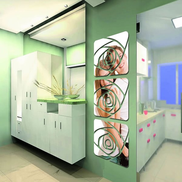 Simple Style Acrylic Mirror Roses Pattern Decorative Wall Stickers